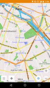 Ecran d'accueil du GPS OsmAnd